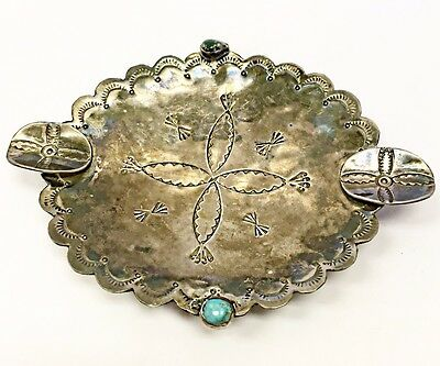 Old Pawn Stamped Design Native American Ash Tray w/ Turquoise And Malachite