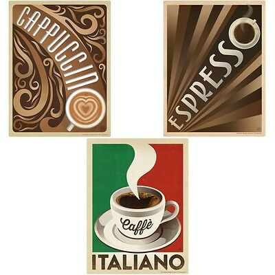 Italian Coffee Drinks Wall Decal Set 12 x 16 Removable Cafe Wall Decor