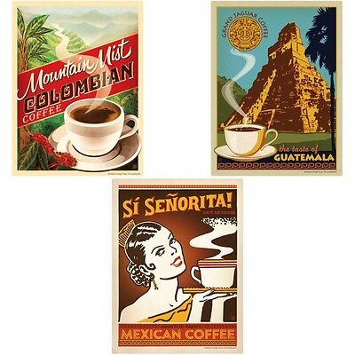 Coffee South American Wall Decal Set 12 x 16 Removable Cafe Wall Decor