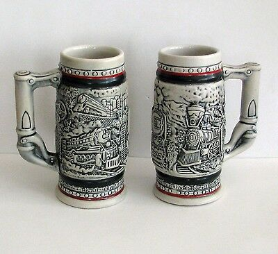 TWO 1985  CERAMARTE MUGS SCENES FROM the AGE of the IRON HORSE Trains Stoneware
