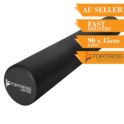 Foam Roller FORTRESS Long Round Solid Body Therapy Black Yoga Fitness