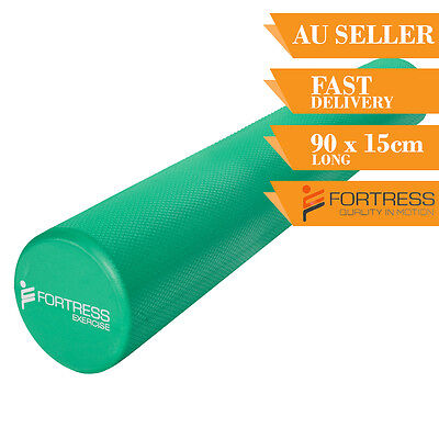Foam Roller FORTRESS Long Round Solid Body Therapy Green Yoga Fitness