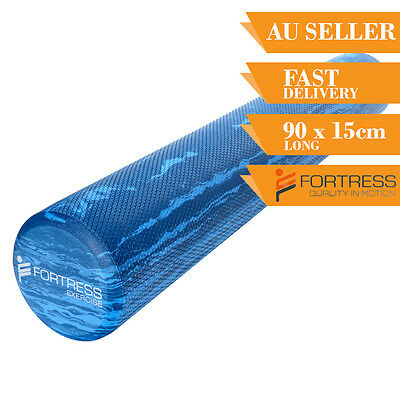 Foam Roller FORTRESS Long Round Solid Body Therapy Marble Yoga Fitness