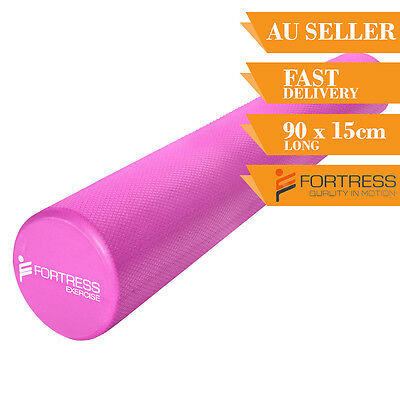Foam Roller FORTRESS Long Round Solid Body Therapy Pink Yoga Fitness