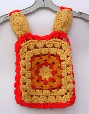 Vintage Retro Hippie Handmade Crocheted Granny Square Toddler Top Vest