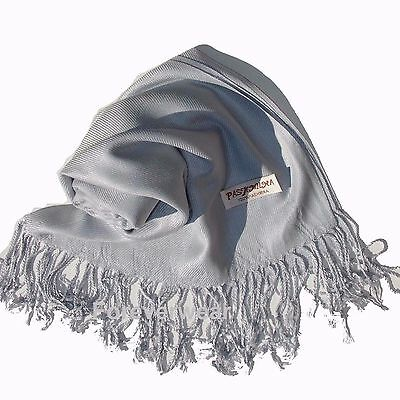 NEW Women Solid 100%Pashmina Wrap Stole Cashmere Shawl/Scarf Soft Silver #07