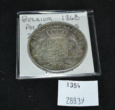 West Point Coins ~ Belgium 1868 5 Franc KM #24 Foreign Coin