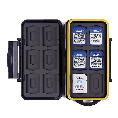 HDE Waterproof Memory Card Travel Case for 12 Micro & Standard SD Card Storage