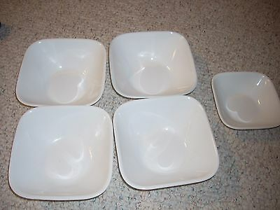 "Corning Corelle Frost White 6"" square cereal/soup bowls (lot 4) + A 5"" bowl"