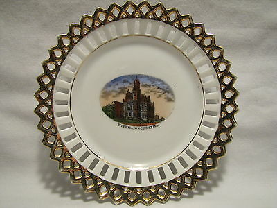 Vtg 1910's Vincennes Indiana City Hall Reticulated Souvenir Plate From Germany