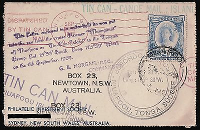 Tonga Sydney 1937 Niuafoou Tin Can Mail On Philatelic Investment Cover