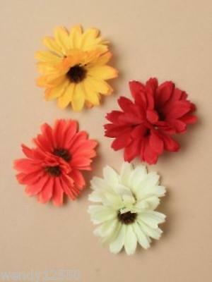 Pack Of 6 Double Headed Fabric Daisy Forked Clips, Hair Accessory - Sp-6036 Pk6