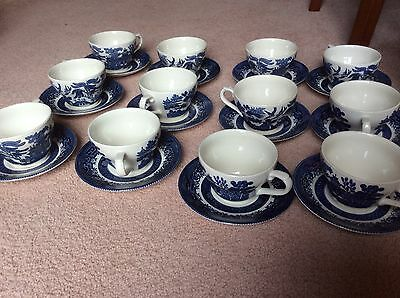 Set Of 12 Willow Tea Cups & Saucers, Blue & White, Churchill ***Exc Condition**