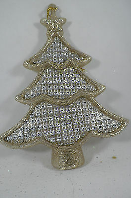 Gold Glittered Jeweled Tree Christmas Tree Ornament new holiday