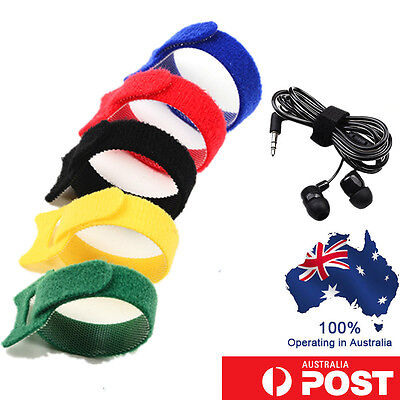 100Pcs Electrical Nylon Strap Reusable Cable Zip Ties PC TV Tidy Wrap Hook &Loop