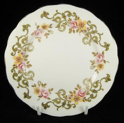 Queen Anne Pink & Yellow Flowers & Swirls Bone China Side Plate