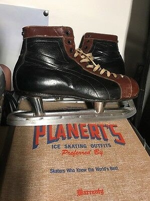 Vintage Ice Skates-Planert's Special Made In Canada-Black Leather-