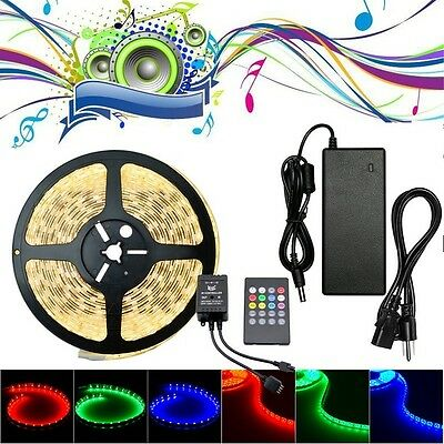 5M 5050 LED Strip Light RGB Sound Activated Music Club Bar Lighting + 5A Adapter
