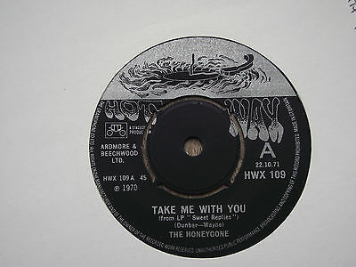 The Honeycone.take Me With You.uk Hot Wax Demo.soul Single Record