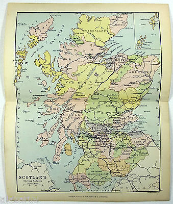 Philips 1882 Map of Scotland Showing Railways by J. Bartholomew - RR Railroad