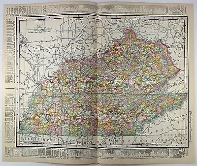 Original 1901 Dated Map of Kentucky & Tennessee by Rand McNally