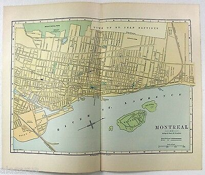 Original 1887 Street & Railroad Map / Plan of Montreal Quebec by Phillips & Hunt