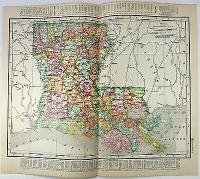 Original 1901 Map of Louisiana by Rand McNally