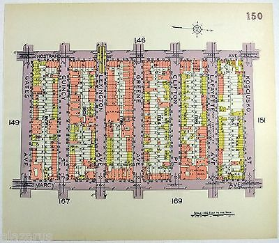 Original 1929 Map of Bedford Stuyvesant - Nostrand to Marcy from Gates to Myrtle