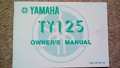 Yamaha Ty125 Ty 125 Owners Manual Booklet