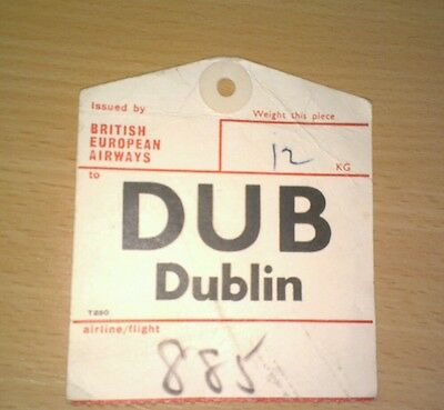 Collectable British European Airways BEA Luggage Baggage Label Tag - Dublin