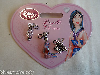 Disney Store exclusive set of 3 charms for bracelet Mulan