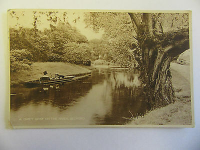 Collectable Vintage RP Postcard - a Quiet Spot on the River, Bedford People Boat