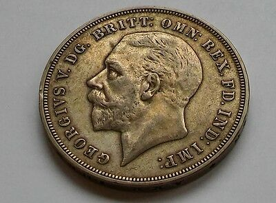 1935 George V silver crown - five shilling  coin - 28.2g
