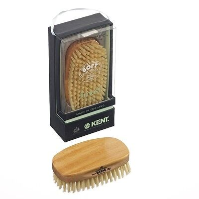 Kent MS23D Mens Pure Bristle Military Brush - Satin & Beechwood Fine / Thin Hair