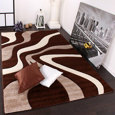 Modern Brown Rug Chocolate Cream White Wave Design Carpet Thick Soft Small Large