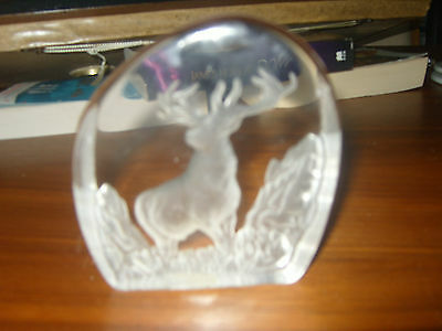 lead crystal paperweight ( the devon stag )
