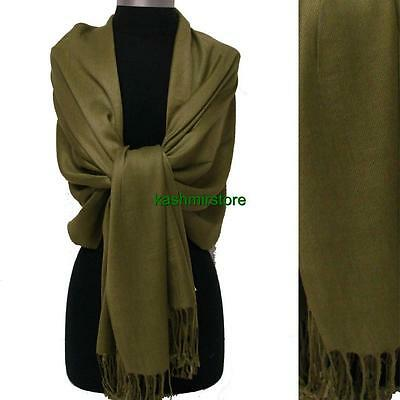 NEW Solid 100%Pashmina Wrap Stole Cashmere Shawl/Scarf Soft Oliver Green #s01