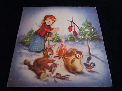 Vtg Wee Gibson Christmas Card Little Angel Warming Mittens w/Forest Friends