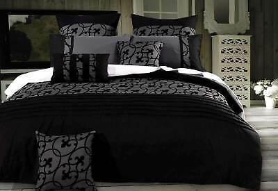 Queen size lyde black charcoal Quilt Cover Set - 3pcs doona cover bedding Set