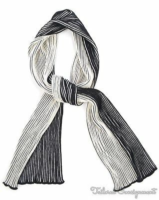 "DIOR HOMME Black White Striped Wool Mens Long Scarf - 9.5"" x 76"""