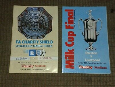 Everton v liverpool milk cup final & Charity Shield programs good condition