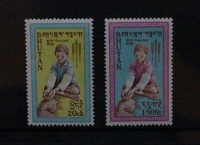 BHUTAN 1963 Freedom From Hunger. Set of 2. Mint Never Hinged. SG13/14.