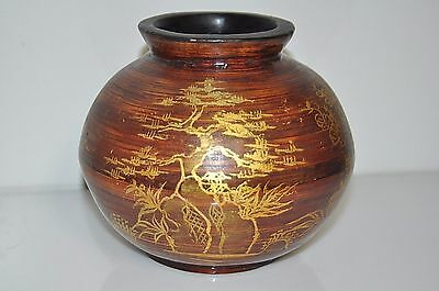 Vintage Antique Asian Chinese Hand Painted Wooden Vase