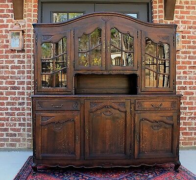 Antique French Country Oak Vaisselier Sideboard Buffet Hutch Cabinet Server Wide