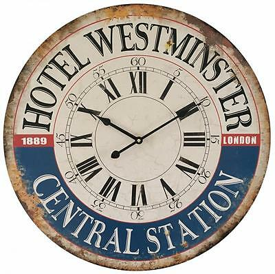 Large WALL CLOCK shabby / chic 58cm Station Clock HOTEL WESTMINSTER
