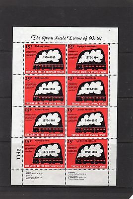 Railway Letter Stamps Great Little Trains of Wales Full Sheet
