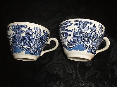 Churchill blue and white willow pattern replacement pair of vintage cups