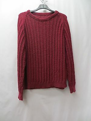 VINTAGE 1980'S DEEP RED HANd KNITTED FISHERMAN JUMPER SIZE XL