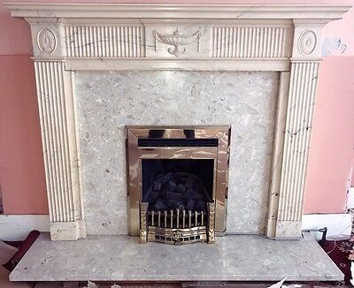 Marble Fireplace: Plinth Wall Surround & Gas Fire
