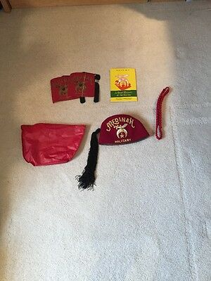 Vintage Shriners Masonic Medinah Military Hat (7 1/8) with Case and Extras